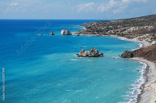 Plexiglas Cyprus Beautiful coastline with turquoise sea
