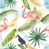 Watercolor seamless pattern of banner tropical leaves, Flamingo and Toucan isolated on white background. - 202898140