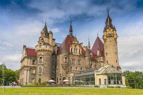 Fabulous castle in Moszna, near Opole, Silesia, Poland.