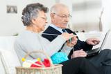 elderly woman doing her yarn hobby - 202910198