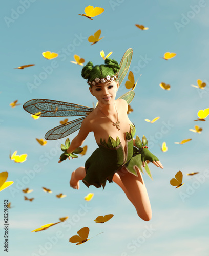 3d rendering of a fairy flying on the sky surrounded by flock butterflies - 202916152