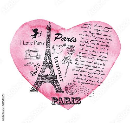 Eiffel Tower on the background of watercolor heart. - 202918325