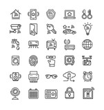 Smart Home Signs Black Thin Line Icon Set. Vector - 202919908