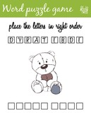 Words puzzle game with teddy bear. Place the letters in right order. Learning vocabulary. Educational game for children