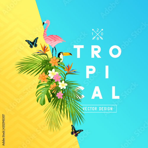 Tropical rainforest summer design with palm tree leaves, Plumeria, and tropical birds. vector illustration. © James Thew
