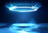 A futuristic technology blank platform with blue glowing neon round lighting. Science fiction 3D illustration. - 202943526
