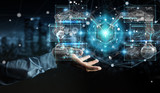 Businessman using robotics arms with digital screen 3D rendering - 202946344