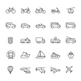 Public passenger transport line icons. Cars and vehicles set. Transportation and shipping outline symbols isolated