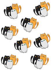cute cats pattern  white background