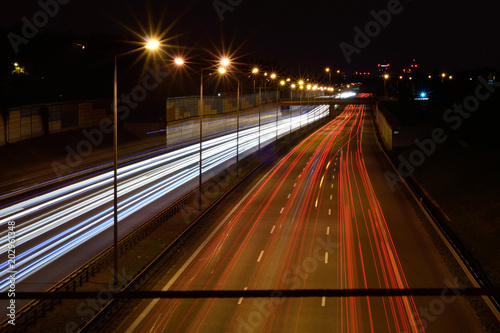 Plexiglas Nacht snelweg Autostrada nocą 4