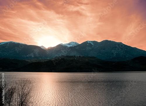 Plexiglas Zalm sunset on the lake
