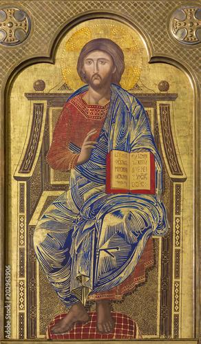 ZARAGOZA, SPAIN - MARCH 1, 2018:  The icon Jesus Christ the teacher on the main altar in church Iglesia del Perpetuo Socorro by pater Jesus Faus (1953 - 1959). © Renáta Sedmáková