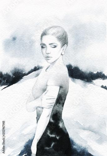 sliczna-kobieta-ilustracja-moda-malarstwo-akwarelowe