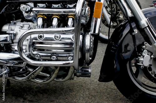 Closeup of a big shiny motorcycle engine