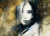 beautiful woman. fashion illustration. watercolor painting - 202967301
