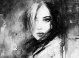 beautiful woman. fashion illustration. watercolor painting - 202967381