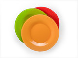 Colored plates stack top view isolated with clipping path - 202980340