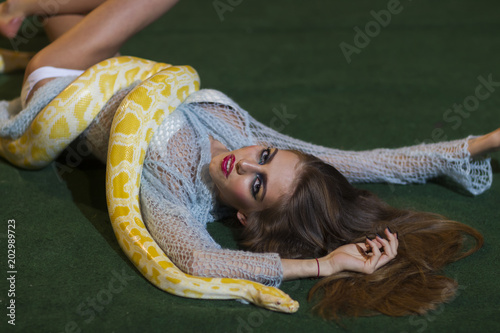 Snake crawl on woman with long hair. Sensual woman relax with albino python. Beauty model with makeup face and yellow serpent. Danger temptation and desire concept © tverdohlib