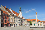 Town Hall and Plague Monument on the Maribor Main Square, Slovenia.