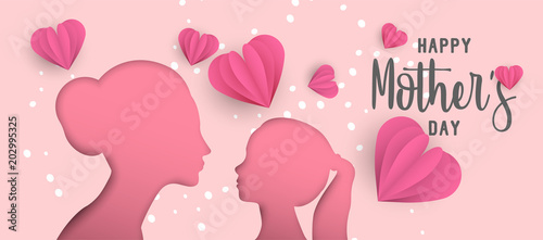 Happy Mothers day paper cut mom and kid web banner © cienpiesnf