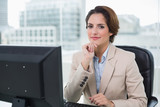 Content businesswoman looking at camera - 203002508