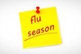 flu season against pinned adhesive note - 203011180