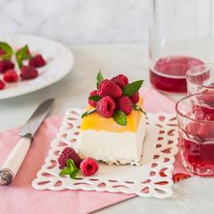 Lemon Semifreddo with Raspberries