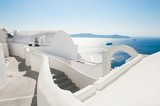 White architecture on Santorini island, Greece. - 203039398