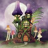 Baśniowa chatka z kolorowymi grzybami i paprocią na tle nocnego nieba