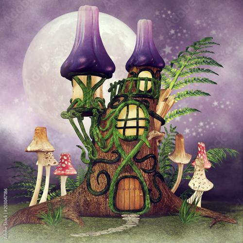 Fotobehang Lavendel Baśniowa chatka z kolorowymi grzybami i paprocią na tle nocnego nieba