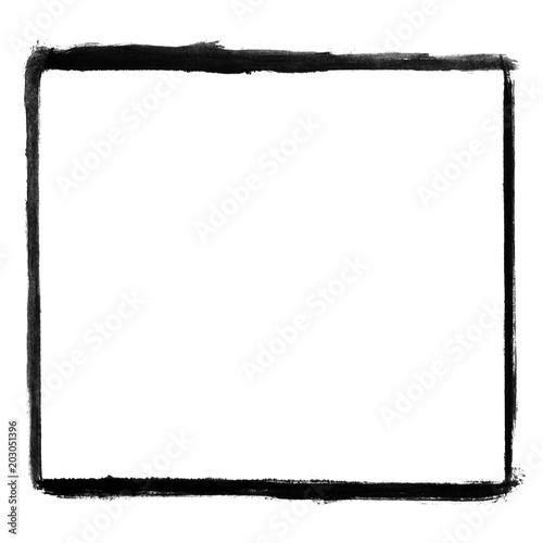 Unsauber gemalter leerer Rahmen mit schwarzer Farbe