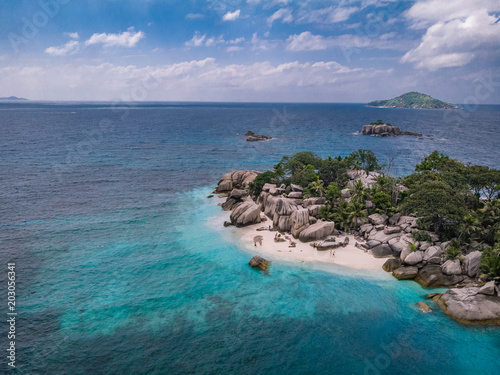 Fotobehang Tropical strand Drone view of tropical island coco island Seychelles
