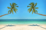 Leaning palm trees over a beach with turquoise sea - 203058549
