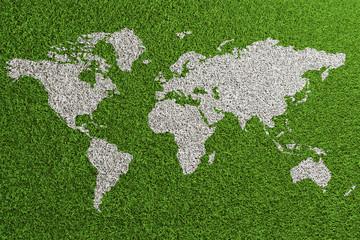 Fußball Rasen von oben mit Weltkarte