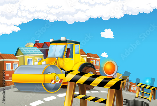 cartoon road roller vehicle in the city - illustration for children - 203066924