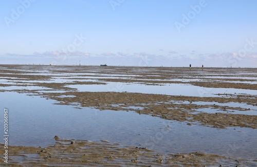 Plexiglas Noordzee Im Watt der Nordsee vor Cuxhaven