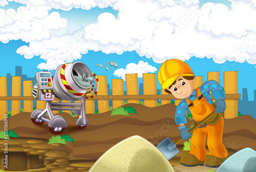 cartoon scene with man working doing industrial jobs - mixing cement - illustration for children - 203066999