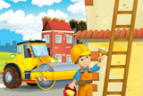 cartoon scene with man working doing industrial jobs - illustration for children