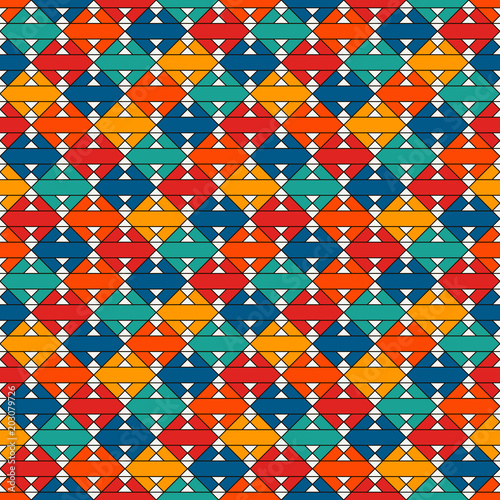 Native american style quilt blanket. Bright ethnic print with geometric forms. Abstract seamless surface pattern