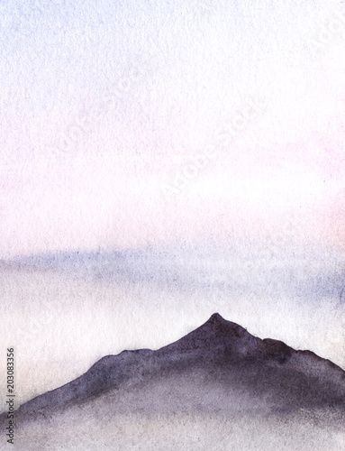 The dark silhouette of a mountain cliff against the background of a light sky. Hand drawn real watercolor background. illustration - 203083356
