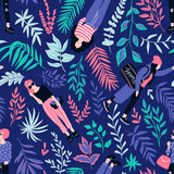 Fashionable young women in casual style with tropical leaves on the dark background. Vector hand drawn stylish seamless pattern with girls. Tropical fabric design. - 203090353