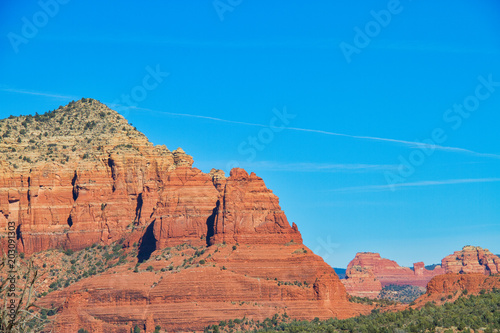 Fotobehang Arizona The red rocks of Sedona with plenty of blue sky that can be used as copy space.