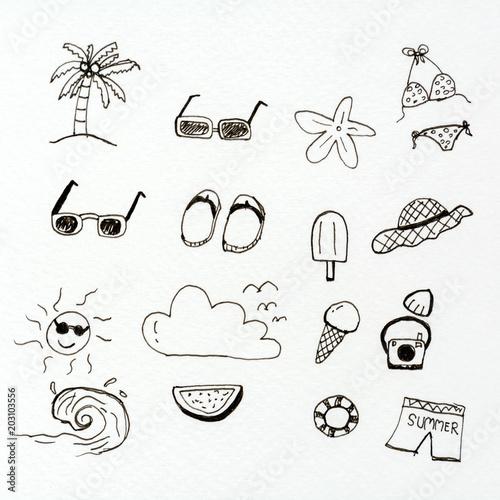doodle summer sketch symbol - 203103556
