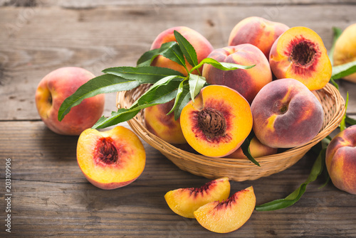 Fresh peaches in the basket