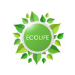 Green earth concept with paper cutout green leaves. World Environment Day, June 5. Ecology, environment, nature protection concept. Ecolife.Template for banner, poster, leaflet. Vector illustration