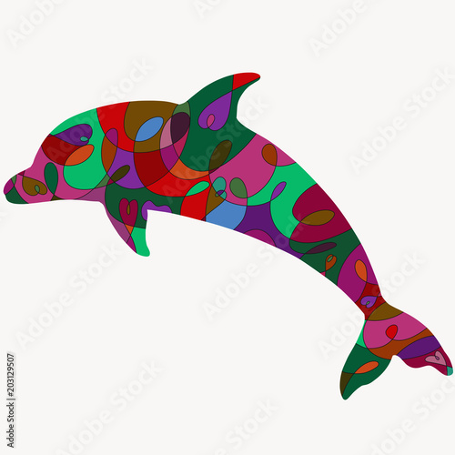 Fototapeta Silhouette of a delfin with a romantic colorful pattern