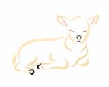 Sleeping lamb or calf, pet or Christian symbol