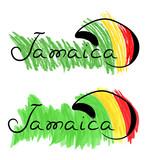 Jamaica rasta hat sketch with color pencil watercolor grunge vector illustration