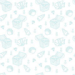 Cute seamless pattern with a treasure chest and seashells. The pattern can be repeated without any visible seams © teneresa