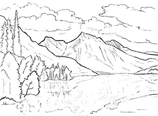 Vector coloring page Canadian landscape - lake, mountains and trees